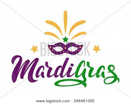 Mardi Gras Purple And Green Text With Masquerade Mask And Fireworks. American New Orleans Fat Tuesda
