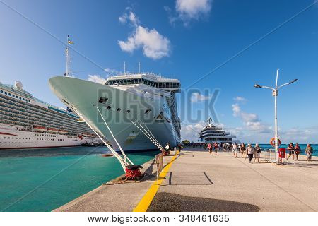 Philipsburg, St. Maarten - December 17, 2018: Cruise Ship Costa Magica Moored In Caribbean Island Of