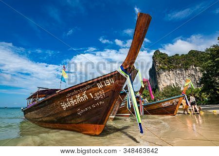 Krabi, Thailand - November 23, 2019: Amazing View Of Beautiful Beach With Longtale Boats. Location: