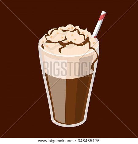 Coffee Frappe In A Glass Vector Isolated. Red Straw In A Tasty