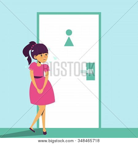 Child Standing At The Toilet Door And Want To Pee. Girl With Urinating Problem. Wc Door Is Locked. F