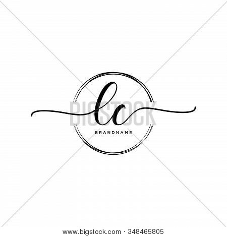 Lc Initial Handwriting Logo With Circle Template Vector.