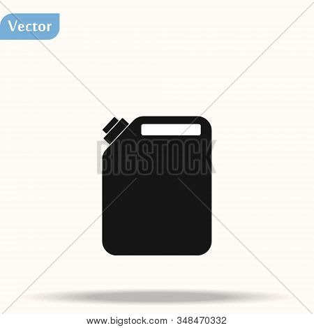 Petrol Canister Icon. Silhouette Illustration Of Petrol Canister Vector Icon For Web Isolated On Whi