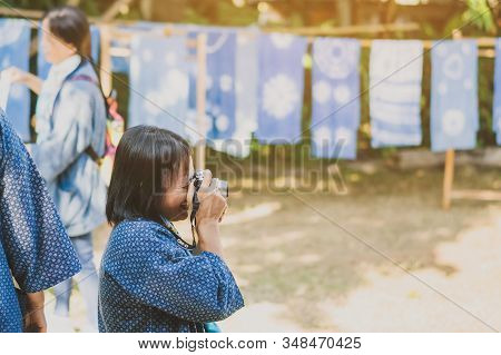 Lamphun Thailand - December 12 :  Unidentified Thai Female Tourist Take A Photography While Her Frie