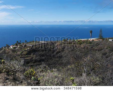 Rural Subtropical Landscape With Palm Trees, Farm House And Sea Horizon. Blue Sky Background, La Pal