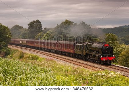 Armathwaite, England - July 29: Preserved Steam Locomotive 46115, Scots Guardsman, Heads The Waverle