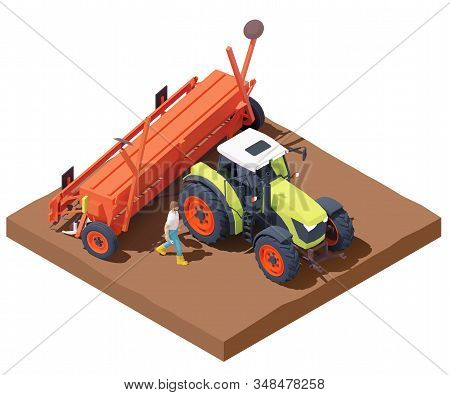 Vector Isometric Tractor With Seed Drill Or Seeder Working In Field. Green Tractor Seeding Crops At