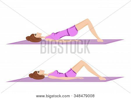 Woman Exercises For The Buttocks , Vector Illustration
