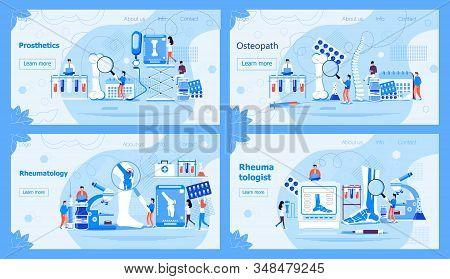 Rheumatology Concept For Website. Tiny Rheumatologists Treat Rheumatism, Osteoarthritis. Arthritis F