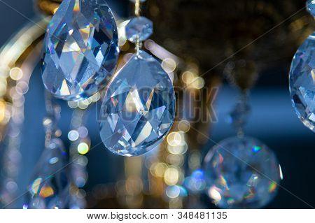 Gass Crystals Hanging On Vintage Chandelier. Crystal Chandelier Close-up.