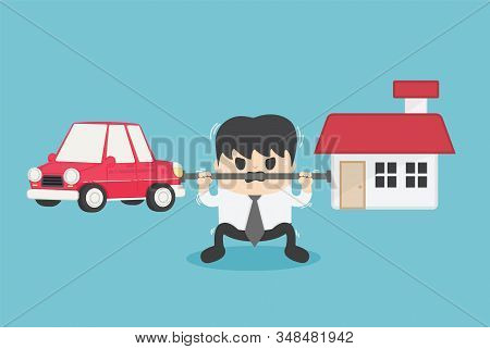 Concept Cartoon Illustration Young Businessman Who Shows A Weary Expression Of The Burden Of Both Th