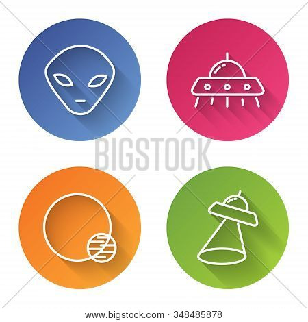 Set Line Alien, Ufo Flying Spaceship, Planet And Ufo Flying Spaceship. Color Circle Button. Vector