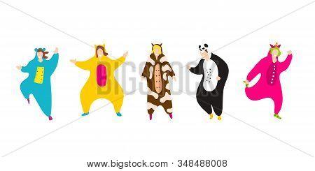 Pajama Party. Happy Friends In Pajamas Costume Sleepwear. Trendy Flat People Vector Illustration. Cu