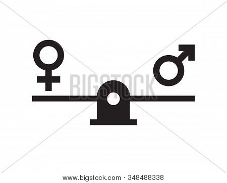 Vector Flat Black Gender Equality Concept. Man And Woman Symbols Balancing On Scales Isolated On Whi