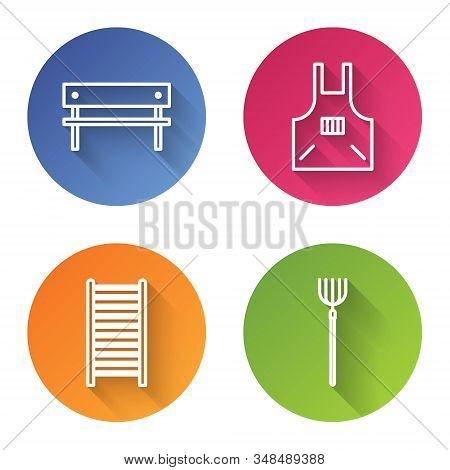 Set Line Bench, Kitchen Apron, Wooden Staircase And Garden Pitchfork. Color Circle Button. Vector