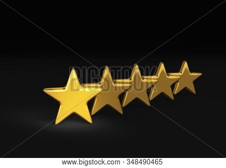 3d Illustration Representing The Very Best, A Bright, Gold Star Stands In Front Of Row Of Gold Stars