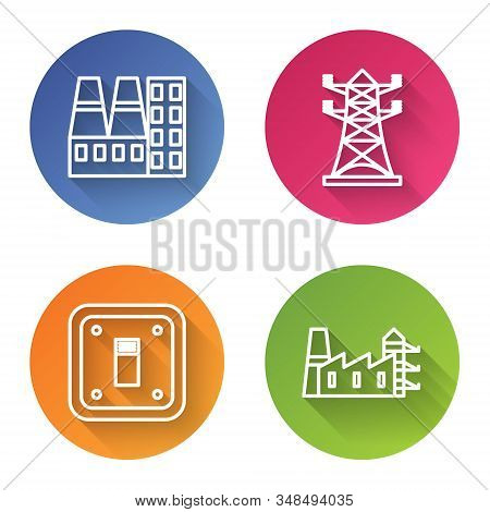 Set Line Power Station Plant And Factory, High Voltage Power Pole Line, Electric Light Switch And Po