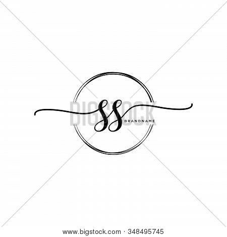 Ss Initial Handwriting Logo With Circle Template Vector.