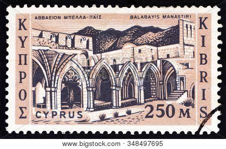 Cyprus - Circa 1962: A Stamp Printed In Cyprus Shows Bellapais Abbey, Circa 1962.
