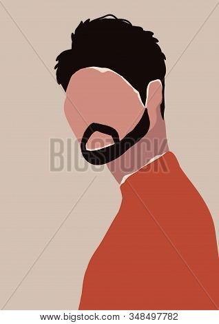 Abstract Modern Young Brutal Man With Beard Portrait Silhouette. Fashion Minimal Trendy People Face