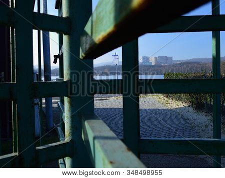 Chomutov, Czech Republic - January 21, 2020: Closed Areal Of Kamencove Jezero Lake With Big Houses N