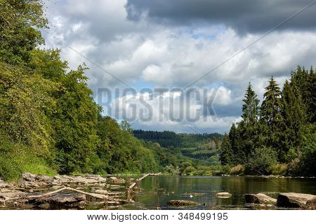 A Portrait Of The Semois River In The Vresse Sur Semois Region In The Ardennes In Belgium. The River