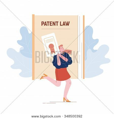 Happy Female Inventor Or Author Character Holding In Hands Copyright Patent Law Certificate Document