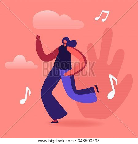 Young Woman Listen Music Dancing On Disco Party. Happy Girl In Fashioned Clothing Celebrating Holida