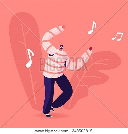 Mobile Music Application Concept. Young Man Dancing Sparetime And Active Lifestyle, Male Character S