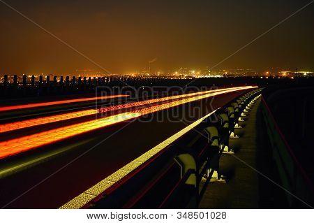 Night On Bridge Near Czech City Of Chomutov  On 15Th January 2020