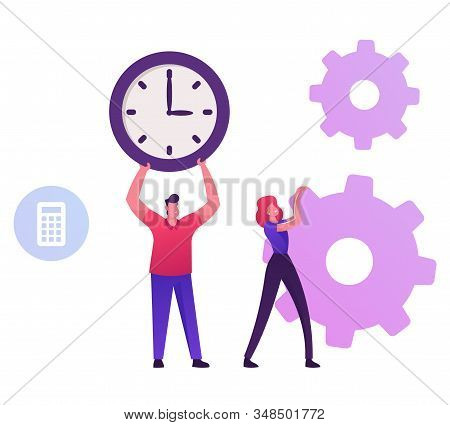 Businessman Holding Huge Clock. Business Woman Moving Cogwheels Mechanism. Time Is Money, Loan Refin