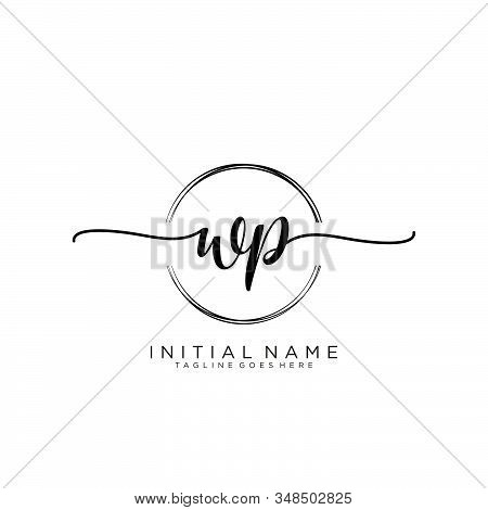Wp Initial Handwriting Logo With Circle Template Vector.