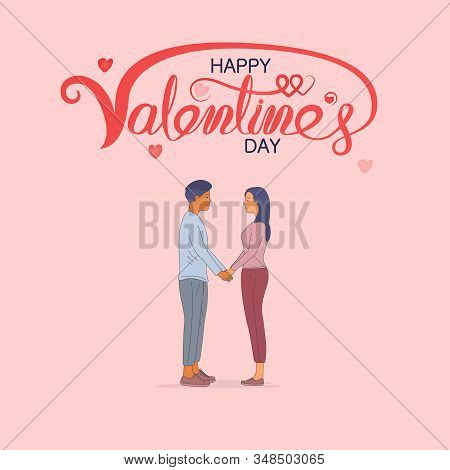 Man & Women Icon.romantic Couple With Hearts Shape.happy Valentines Day 14 February Illustration.rom