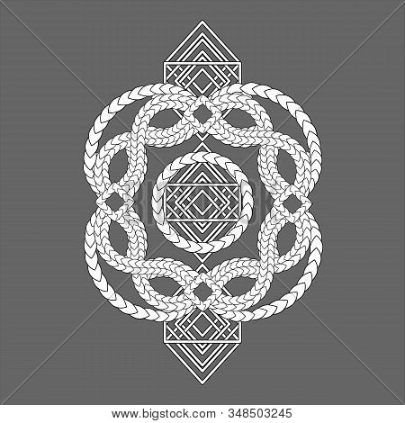 White Entwined Snake Skins And Geometric Pattern On Grey Background