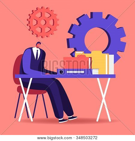 Audit Concept. Administrator Business Man Financial Inspector And Secretary Making Report Calculatin
