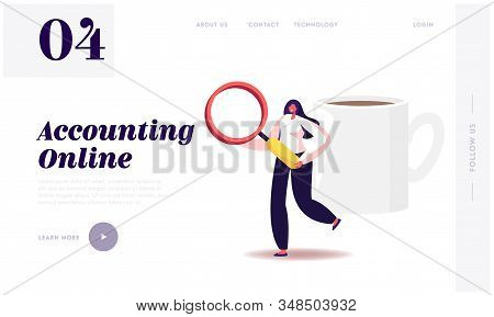 Auditing Research And Data Analysis Website Landing Page. Woman Auditor Holding Huge Magnifying Glas