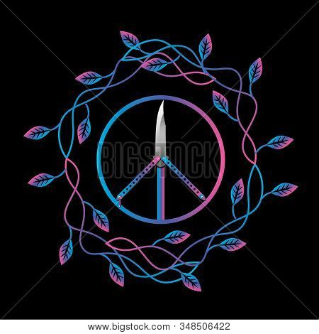 Ironic Print Design With Rainbow Butterfly Knife In The Peace Symbol