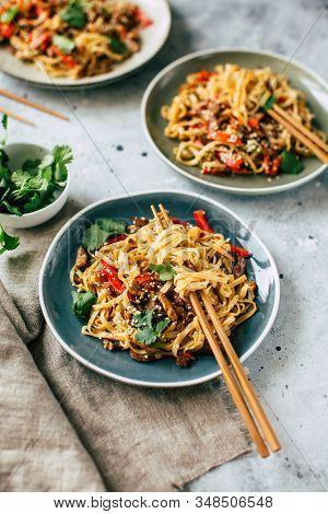 Asian Food, Udon Noodles With Vegetables, Healthy Vegetarian Menu
