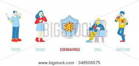 Coronavirus Symptoms Concept. Cough Fever Chill Sneezing Infographics Elements, Human Showing Cov Ri