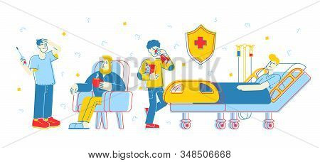 Diseased Men Patients Having Virus Infection Or Flu Disease. Illness, Health Care Concept. Sick Peop