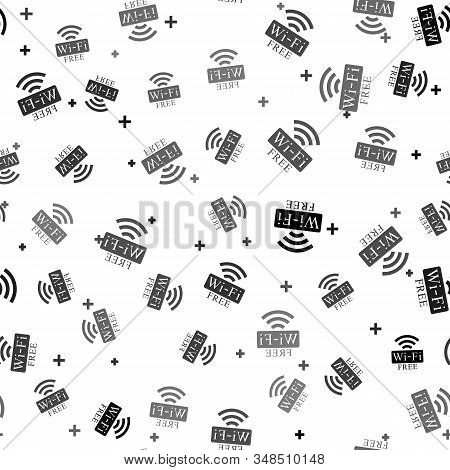Black Free Wi-fi Icon Isolated Seamless Pattern On White Background. Wi-fi Symbol. Wireless Network