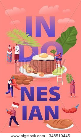 Indonesian Cuisine Concept. Tiny Male And Female Characters Tourists And Native Dwellers Eating And