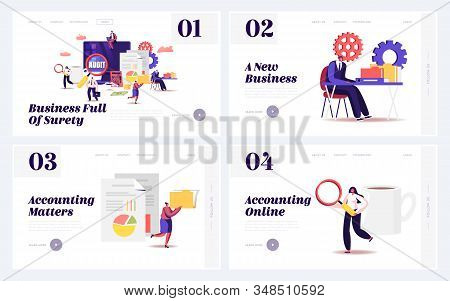 Audit Consulting For Company Website Landing Page Set. Auditors Check Sum Documents, Bank Accounts F