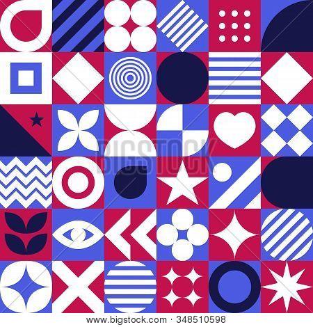 Bauhaus Seamless Pattern, Geometric Graphic Design In Scandinavian Style, Fashion Swiss Background W