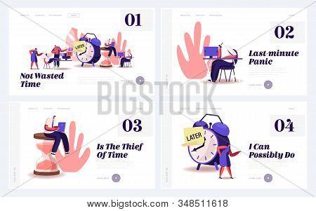 Procrastination, Postponing Work Website Landing Page Set. Lazy Businesspeople Spend Unprofitable Ti