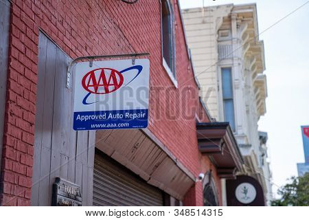 San Francisco, Ca July 6, 2019: Aaa Approved Auto Repair Sign Hung Above Car Garage