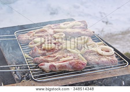 Chunks Of Meat With Onions Are Cooked On Barbecue. Pieces Of Onion And Steak Cooked On Fire. Steak G