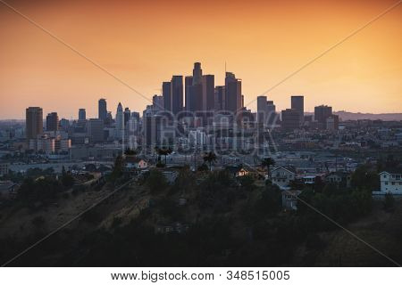 Los Angeles downtown silhouette at sunset. LAX most famous city of california. Typical view of the Los Angeles.
