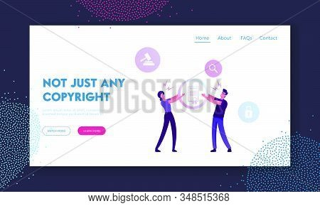 Copyright Production Website Landing Page. Angry Man And Woman Inventors Or Authors Pulling Patent L
