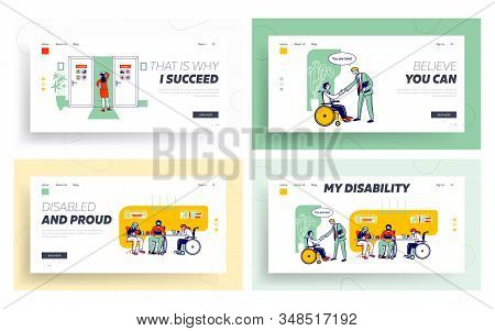 Woman Choice, Handicapped People Employment Website Landing Page Set. Disabled Working At Laptop Sit